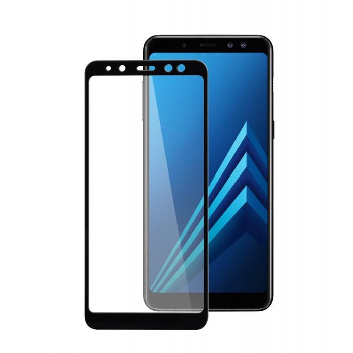 Защитное стекло 4D Full BLACK Samsung A8 2018  - 1