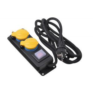 Power Strip 2Е 2XSchuko ІР44 3G1.5 - 3M Black / 2E-U02ESPM3