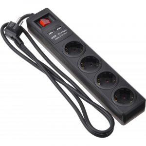 Power Strip 2Е 4XSchuko 2хUSB 3G1.5 - 1.8M Black / 2E-U04ESUM1.8