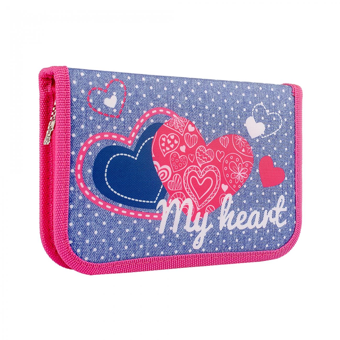 Жесткий пенал  SMART single 20.5x3.2x13  with one flap HP-03 My heart  - 1