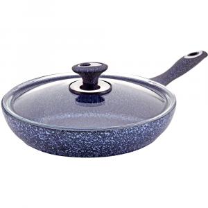 Сковородка Hascevher Stoneco Blue Granit 24 см с крышкой