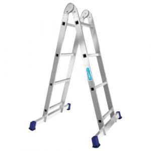 Nərdivan Alumet 2x4 pilləli iki hissəli aluminium (Tam və /\ şəklində) (T204)